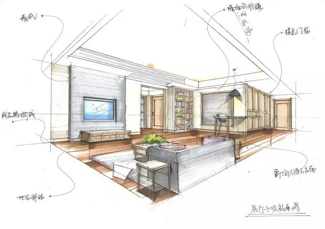 培训 69 室内设计手绘图  几笔线条勾勒出卧室的纹路,简单的床