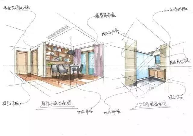 培训 69 室内设计手绘图  开放式的整面大书柜,灰色的大板桌,在这里